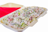 Mixed salad with ham cucumber and sour cream — Stock Photo
