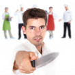 Cook and the knife — Stock Photo