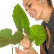 Foto Stock: Women maintain plant