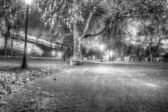 Park near the old fort at night — Stock Photo