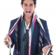 Angry man with lot of ties around his neck — Stock Photo #39878489