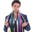 Undecided man with lot of ties around his neck — Stock Photo #39881783