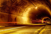 Tunnel at night with mystical lights — Stock Photo