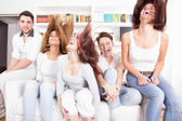 Group of friends having fun at home — Stock Photo