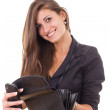 Successful irresponsible rich business girl holding wallet and m — Stock Photo #41524975
