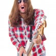 Man with face expression with sunglasses playing electric bass g — Stock Photo