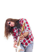 Male musician with face expression playing electric bass guitar — Stock Photo