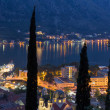 City of Kotor, Montenegro at night at the sea — Stock Photo