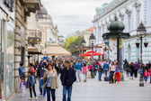 Crowd of anonymous people walking  on the shopping street — Stock Photo