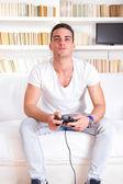 Bonitão, jogar video game — Foto Stock