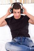 Attractive handsome man with headphones — Stock Photo