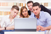 Pissed off casual group of friends because results looking on la — Stock Photo