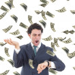 Businessman with money realising he is running out of time — Foto Stock