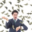 Businessman with money realising he is running out of time — Stockfoto