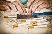 Male hands making cigars with tobacco — Stock Photo