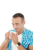 Loving smell of coffee in the morning — Stock Photo
