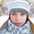 Young beautiful woman. Winter portrait. — Стоковая фотография