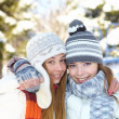 Winter. Young women outdoors. — Foto Stock