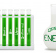 Formula of green energy. Concept with flasks. — Stock Photo