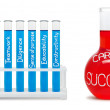 Formula of career success. Concept with blue and red flasks. — 图库照片