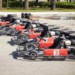 Kart Racing. Cars at pit stop. — Stock Photo