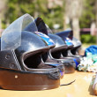 Kart Racing. Helmets. — Stock Photo