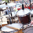 Street party. Musical equipment on stage. — Stock Photo