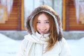 Young beautiful woman. Winter portrait. — Stok fotoğraf