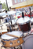 Street party. Musical equipment on stage. — Stockfoto
