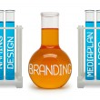 Concept of branding. Cyan and orange flasks. — Stock fotografie