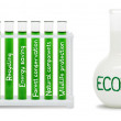 Formula of eco life. Concept with green and white flasks. — Stock Photo