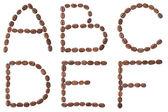 """Coffee"" alphabet. Capital letters A, B, C, D, E, F. — Stock Photo"