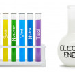 Formula of electricity. Concept with colored flasks. — Stock Photo