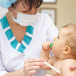 Stock Photo: Baby healthcare and treatment. Medical symptoms. Temperature mea