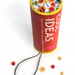 Conceptual firework unit with ideas confetti. — Stock Photo