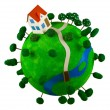 Stock Photo: Little green planet with toy house.