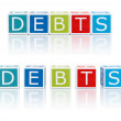Report Topics With Color Blocks. Debts. — Stock Photo
