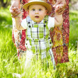Little boy in the garden. Walking outdoors. — Stock Photo