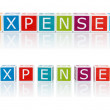 Stock Photo: Report Topics With Color Blocks. Expenses.