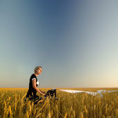 Young woman with typewriter in field of wheat — Stock Photo