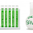 Formula of energy saving. Concept with green and white flasks. — Stock Photo
