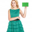 Beautiful blonde young woman with blank banner. — Stock Photo