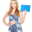 Beautiful blonde young woman with blank banner. — Stock Photo #37434941