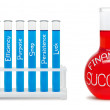 Formula of financial success. Concept with blue and red flasks. — Stock Photo