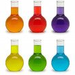 Set of flasks with colored liquid. — Stock Photo