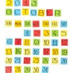Multicolor calendar: October 2013. Pieces of colored paper. — Stock Photo
