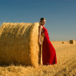 Girl in red evening dress — Stock Photo