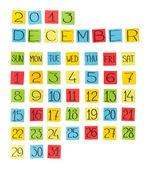 Multicolor calendar: December 2013. Pieces of colored paper. — Stockfoto
