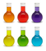 Set of flasks with colored liquid. — Photo