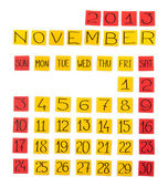 Calendar: November 2013. Pieces of colored paper. — Stock Photo